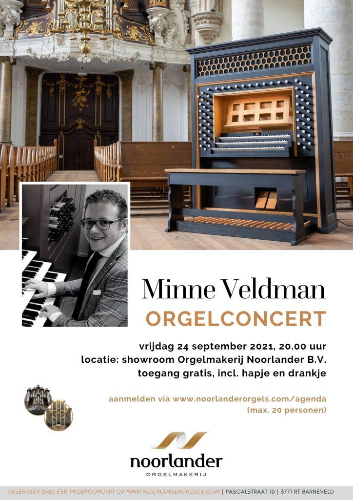 Meld u nu aan voor het orgelconcert van Minne Veldman op 24 september a.s. om 20:00 in de showroom van Orgelmakerij Noorlander B.V. (max. 20 personen). De toegang is gratis en tijdens de pauze kunt u genieten van een hapje en drankje.